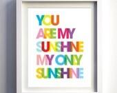 You Are My Sunshine Print Bright Rainbow Nursery Decor Kids Room Wall Art Boys Girl Nursery Prints Modern Kids Room Lyrics Christmas Gift
