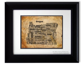 OREGON State Map Modern wall decor print  - Unique Vintage Style Typography Poster, Christmas gift for him