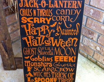 Primitive Halloween Subway Art Sign