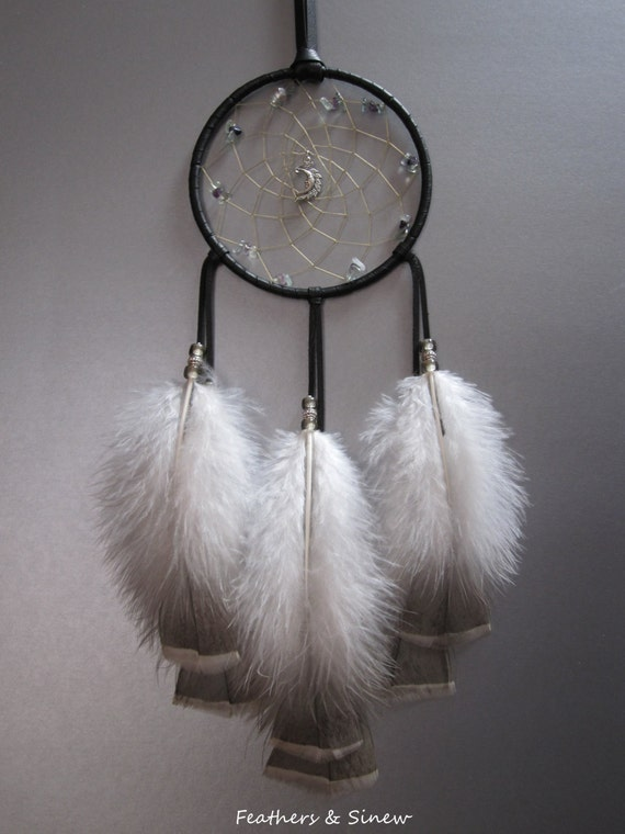 Dream Catcher Black Deerskin Leather with Turkey Feathers