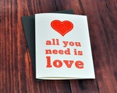 Letterpress card , all you need is love , valentine , love card , quote card , sewn card , red heart , beatles