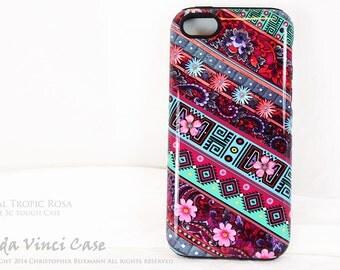 Pink Aztec Floral iPhone 5c Case - Pink & Blue tribal iPhone 5c Cover - Tribal Tropic Rosa -  iPhone TOUGH Case by da Vinci Case