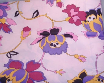 Fanciful Purple & Pink Flowers on Pink Polyester Silk Fabric - BTY - DESTASH