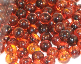 Vintage Amber Round Beads, Acrylic - 13mm - Over 30 beads per bag, Jewelry Supply, Costuming, Translucent Bead - DESTASH