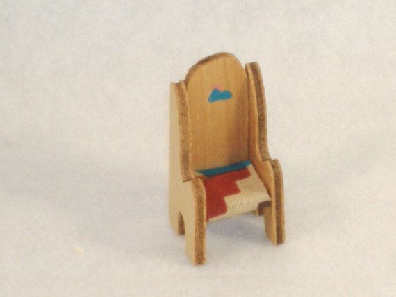 Handpainted Miniature Wood Lodge Chair, Southwest Theme Fabric Seat - Great Accessory for Your Dollhouse, Shadow Box, Knick Knack