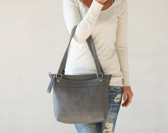 Leather messenger bag - Grey leather bag - Laptop bag for women - SQ bag