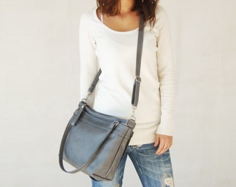 GREY Leather bag - Leather messenger bag  - Leather shoulder bag