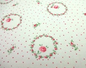 SALE Japanese Fabric YUWA Small Flower Wreaths white x Red  Fat Quarter