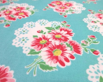 Japanese Fabric Lecien Lace Flower Bouquet Turquoise  Fat Quarter