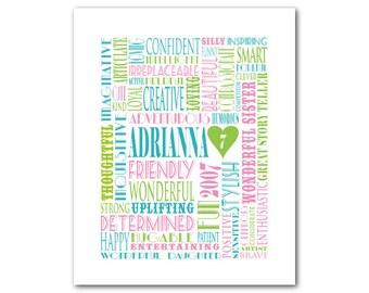 Personalized Name Typography - Birthday Gift - Custom Word Art - Customizable Personalized Retirment gift Nursery childrens print baby gift