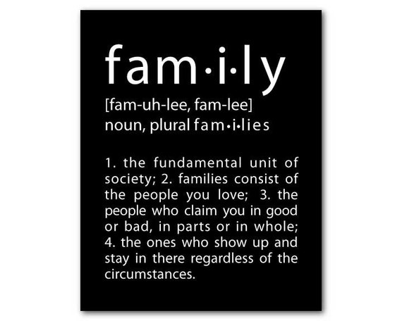 Family Wall Art - What is Family Inspirational Print - typography wall decor - Family Definition - subway art - gift under 20