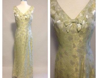 1950s Original Bernetti Metallic Print Evening Dress W/ Matching Jacket