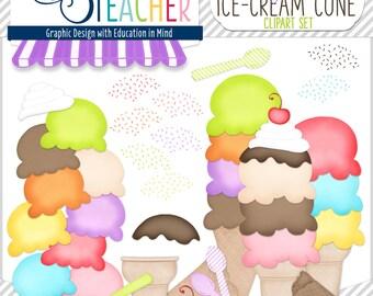 Build-Your-Own Ice Cream Cones: Digital Clipart Set
