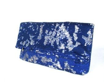 Blue sequins clutch, Fold over clutch, Zipper pouch, Metallic bag, sparkle clutch bag, metallic cosmetic bag, evening bag