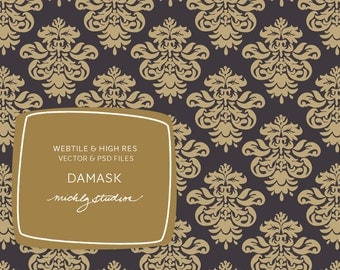 Hand drawn damask seamless pattern, repeating web tile, digital paper, website background, blog background, vector, psd file, scrapbooking