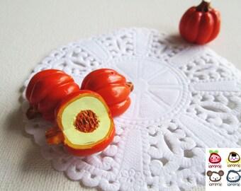 Miniature Ceramic Pumpkin, ceramic vegetables, orange, cut, food figurine, miniature food, mini vegetables, dollhouse, tiny, clay, halloween