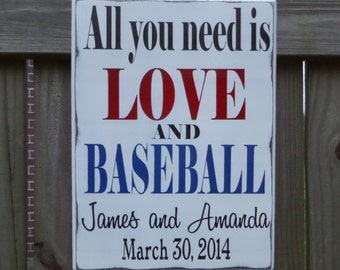 All you need is LOVE and BASEBALL, Gift for him, Anniversary Gift for Him, Gift for Couple, Wedding Gift for Him, Gift for Husband, Sports
