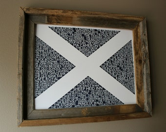 Scottish Pubs Flag Print (Dark Blue & White) - Unframed