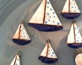 Ceramic Sailboat Charms and Pendant
