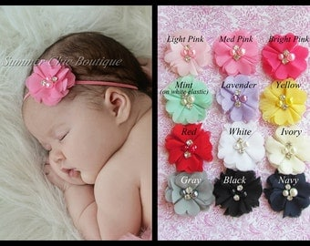 You Pick 1  Baby Headband, Infant Headband, Newborn Headband, Toddler Headband, Girls Headband, Chiffon flowers