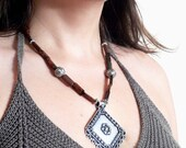 Statement brown and metal necklace handmade with semiprecious jasper stones. ooak made in Italy.