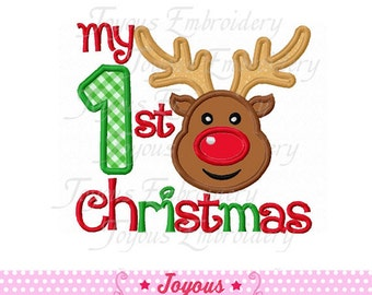 Instant Download My 1st Christmas With Reindeer Applique Embroidery Design NO:1595