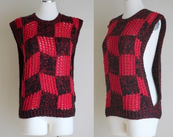 SALE: Vintage 80s Red and Black Checkerboard Hand Knit Sweater Vest - Punk Rock Open Side Rocker Chic Tank Top - Size Large