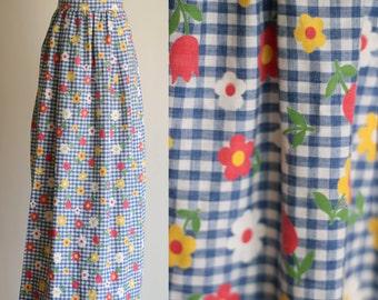 SALE: Vintage 60s 70s Floral Maxi Skirt - High Waisted Blue Gingham Daisy Print Long Hippie Skirt -  Boho Summer Skirt - Size Small / XS