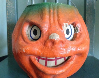 Vintage Halloween Jack O Lantern Paper Mache Candy Container 1940s Old Halloween Decor Collectible
