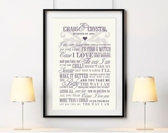 Gift For Her Wedding Song Lyric Art Custom Wall Print, Unique Gift Idea for Showers, Wedding, Valentine's Day, Anniversary, Mom, Mothers Day