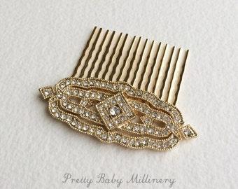 Gold hair comb, Art Deco hair Comb, gold wedding comb, Great Gatsby comb, wedding bridal hair accessories Downton Abbey DECO DIAMOND GOLD