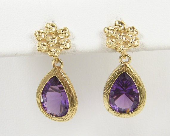 Purple Gold Earrings, Purple Drop Amethyst Gold Flower Dainty Purple Purple Bridesmaid Earrings February Birthstone Faceted Stone Dangle