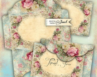 Envelopes No2 - digital collage sheet - set of 2 sheet - Printable Download
