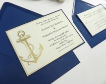 FREE Sample Limited Time Only-Nautical Wedding Invitation 4 PC Suite with Gold Embossed Anchor