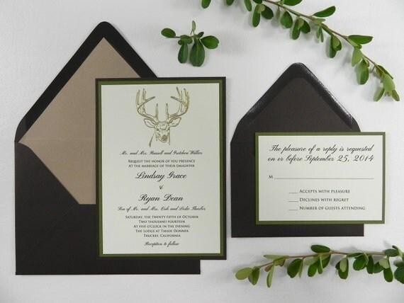 Gold Embossed Wedding Invitations: Gold Embossed Buck Wedding Invitation Stationery Set Style