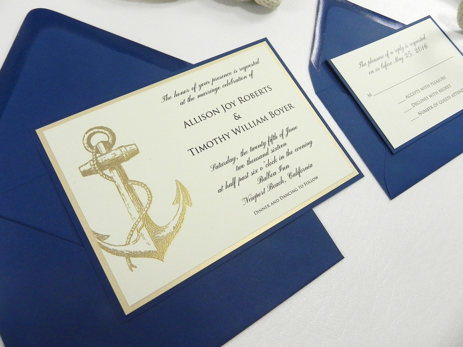 Nautical Wedding Invitation 4 PC Suite With Gold Embossed