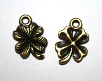 6 Antique Bronze Four Leaf Clover Charms/Pendants - CB -0016