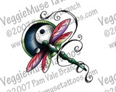 digital download dragnofly yin yang clip art drawing decal