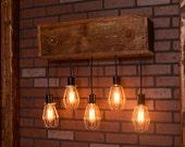 Industrial lighting, Industrial Chandelier, Nickel With Reclaimed Wood and 5 Pendants. R-26WALL-NC-5