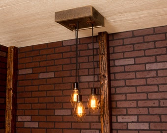 Industrial lighting, Industrial Chandelier, Antique Brass With Reclaimed Wood and 3 Pendants. R-1212-AC-3