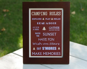 Camping Rules 5X7 Framed Sign