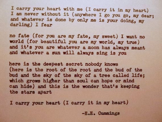 Ee Cummings I Carry Your Heart Poem Typed On Typewriter I-1305