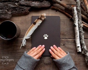Forest notebook with a carved pattern - Paw