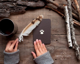 Forest notebook with a carved pattern - Paw (small size)
