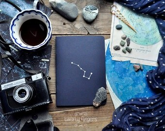"Deep Blue notebook-sketchbook with a carved pattern - constellation ""Ursa Major"""