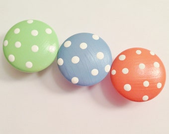 Hand Painted Polka Dot Knobs Use On Your Dresser Drawers