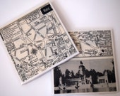1953 Madrid Spain Map Handmade Vintage Map Coasters - Ceramic Tile Coasters set of 2 - Repurposed 1950s Travel Book - OOAK Coasters