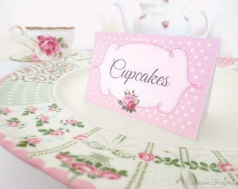 VINTAGE Printable Rose Tea Party Food Labels Buffet Tent Cards - PDF Blank, Add Your Own Text (Choose your colours)
