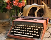 Pink  Mid Century  Remington Monarch Portable Typewriter Made in France