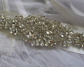 Sparkle old Hollywood glamour Victorian wedding bridal rhinestone crystals and dress buckle belt sash